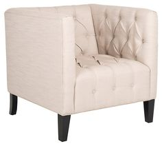 One Kings Lane - Contemporary Luxe - Leonard Club Chair, Beige/Black