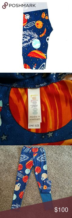 UNICORN Lularoe OS Planet SolarSystem Legging NWOT UNICORN New LuLaRoe OS Leggings only tried on. Buttery soft leggings. Selling these because they are about a half inch shorter than all my other LulaRoe OS legging and the band seems lightly smaller. No worn or wear on these leggings. Blue background solar system Planet leggings. Attached photos are of the actual leggings themselves. LuLaRoe Pants Leggings