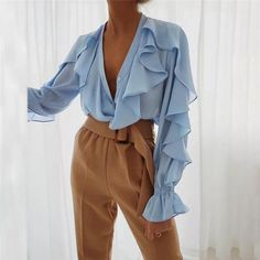 V Neck Chiffon Ruffle Blouse Looks Chic, Looks Style, Chiffon Ruffle, Ruffle Blouse, Ruffle Trim, Pretty Outfits, Cute Outfits, Pretty Clothes, Dolce & Gabbana