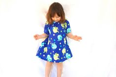 Peasant Dress  Blue and Green with Polka Dots and by GoobaGear, $27.99