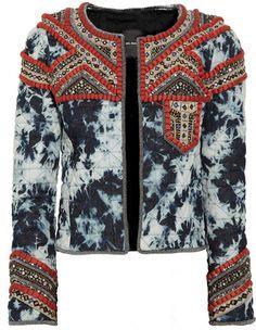 Isabel Marant - Weez Embellished Tiedye Quilted Denim Jacket