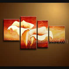 Beautiful Contemporary Wall Art Oil Painting On Canvas Panels Stretched Ready To Hang Cala Lily Flower. This 4 panels canvas wall art is hand painted by Bo Yi Art Studio, instock - $145. To see more, visit OilPaintingShops.com