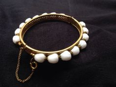 View Item: MIRIAM HASKELL vintage MILK GLASS hinged Bangle bracelet late 40s-50s signed $45.99