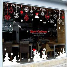 Decoración de ventana grande en blanco y rojo, especial para época navideña