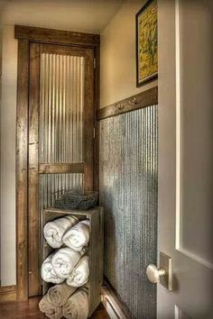 Galvanized sheet metal as wainscot.love this idea for a mudroom or basement Galvanized sheet metal Galvanized Sheet Metal, Galvanized Decor, Corrugated Tin, Galvanized Tin Walls, Galvanized Shower, Corregated Metal, Deco Design, Design Design, My New Room