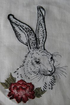 embroidered hare by Jessica Thistlethwaite Inspired by Albrecht Durer's Hare Hand embroidery. Silk and cotton threads on linen. Embroidery Art, Embroidery Applique, Cross Stitch Embroidery, Embroidery Patterns, Machine Embroidery, Diy Bordados, Broderie Simple, Albrecht Durer, Blackwork