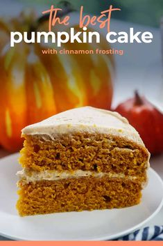 Moist pumpkin cake and cinnamon buttercream! This is the perfect dessert for Thanksgiving and it's so EASY! #pumpkin #cake Healthy Pumpkin Cake Recipe, Pumpkin Crunch Cake, Healthy Pumpkin Pies, Pumpkin Cake Recipes, Pumpkin Dessert, Pumpkin Cakes, Pumpkin Bread, Carrot Cake, Easy Cheesecake Recipes