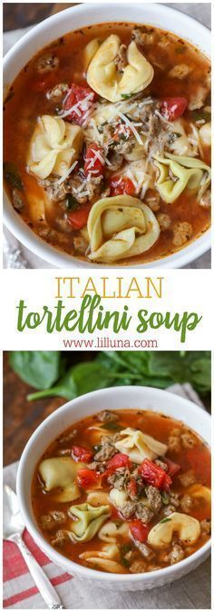 Italian Tortellini Soup - a delicious recipe filled with tortellini, sausage, tomatoes, spinach, basil and more! So hearty and delicious!