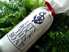 LET'S ROCK This BOAT Nautical Yacht Sailboat Sailor by THEWINEBAG, $9.00