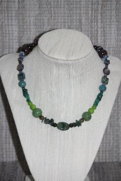 Beautiful Handmade Chunky Ombre Cool Colored Symmetrical Beaded Necklace