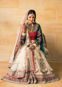 Long Sleeved Ivory, Red, and Green Bridal Lehenga Indian Wedding Fashion, Indian Bridal Outfits, Indian Bridal Lehenga, Indian Bridal Wear, Pakistani Bridal, Indian Dresses, Bridal Dresses, Bridal Fashion, Indian Wear