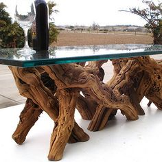 Home Design: Decor Old vine grapevine coffee table made of recycled, natural organic wood by Wine Country Craftsman Driftwood Furniture, Log Furniture, System Furniture, Glass Furniture, Handmade Furniture, Furniture Ideas, Furniture Design, Tree Trunk Table, Stump Table