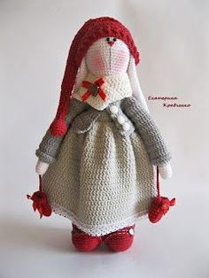 TonTon Doll and Tilda Bunny Free English Pattern byTiny Mini Design, two patterns, #crochet, stuffed toy, #haken, gratis patroon (Engels) voor konijn en pop (sommige delen hetzelfde), knuffel, speelgoed, #haakpatroon
