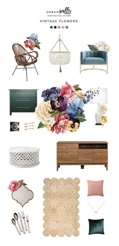 Decor Inspiration Board | Vintage Flowers - Urban Walls