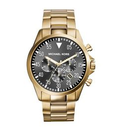 Go off the grid with the Gage, a gilded timepiece featuring aviation-inspired details.  In sleek gold-tone stainless steel, this watch takes a modern approach to the classic chronograph design. A Three-hand movement, sub dials and date display offer full-on functionality. Reach for this piece to lend a little polish to your wardrobe staples or a timeless suit and tie.