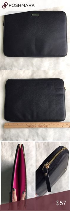 "Kate Spade laptop sleeve Protect your 13"" Apple MacBook from damage with this kate spade new york Saffiano Empire KSMB-010-BLK sleeve that features an scratch-resistant textured leather material for easy cleaning and a slim design for lightweight portability.❤️BRAND NEW NEVER USED❤️🚫NO TRADES LOW BALL OFFERS GET BLOCKED🚫 kate spade Accessories Laptop Cases"
