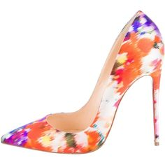 Pre-owned Christian Louboutin Brushstroke So Kate Pumps ($575) ❤ liked on Polyvore featuring shoes, pumps, white, white satin pumps, white shoes, white pumps, white pointy toe pumps and colorful pumps