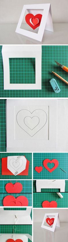 Twirly Heart Mobile Card   Click Pick for 23 DIY Valentines Cards For Him   Handmade Valentines Cards For Friends