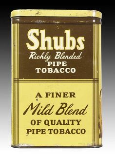 Shubs Richly Blended Pipe Tobacco Vertical Pocket Advertising Tin