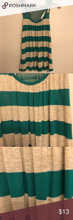 Teal and Beige Striped Racerback Tank Top Teal and Beige Striped Racerback Tank Top - gently used Anthropologie Tops Tank Tops