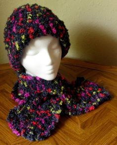 Black MultiColor Very, Very WARM Crocheted Hat and NeckWarmer Scarflette Set - Adult | #Handmade by @rssdesignsfiber -  RSSDesignsInFiber - Made with a Boucle Yarn - crocheted  to make a Solid Fabric - this Hat and Neckwarmer Scarflette Set really is Warm for Cold, Windy, Wet Days!!!