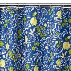 Laura Ashley EMILIE Blue Yellow Floral SHOWER CURTAIN | Floral ...