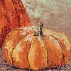 Painting of an orange pumpkin near a larger pumpkin. Fall Harvest Pumpkind Wall Art by Leslie Saeta from Great BIG Canvas. Pumpkin Canvas Painting, Autumn Painting, Autumn Art, Canvas Art, Big Canvas, Fall Paintings, Autumn Prints, Pumpkin Art, Pumpkin Pics