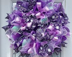 Deco mesh wreath, Spring wreath for front door, purple wreath, summer wreath, Easter Wreath, everyday Wreath, Summer Deco Mesh Wreath