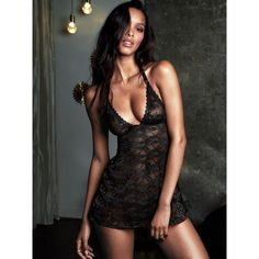 Very Sexy Victoria's Secret Floral Lace Halter Babydoll Lingerie (365 ARS) ❤ liked on Polyvore featuring intimates, black, black halter top, lacy black lingerie, lace halter top, victoria secret lingerie and halter top
