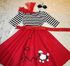"RED Poodle Skirt COSTUME Girl's Sz.Sm.18""L 5 pcs. HALLOWEEN STRIPED Shirt!"