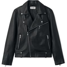 Biker Leather Jacket - Black - Jackets & coats - Weekday found on Polyvore featuring outerwear, jackets, tops, studded jackets, real leather jackets, collar jacket, genuine leather jackets and studded leather jacket