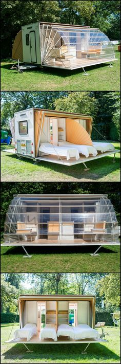 This will get you thinking! It's a mobile home that expands to three times it's towed area in just minutes.  On the road, it folds up to look like any other camper. On site it deploys and creates a footprint three times its towed size.  http://architecture.ideas2live4.com/2015/08/09/the-awning-mobile-living/  Think of the uses...