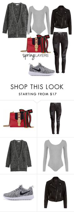 """""""Save here... BINGE there"""" by xyz-affairs ❤ liked on Polyvore featuring Gucci, Closed, WearAll, New Look, cutecardigan and springlayers"""