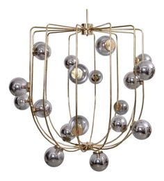 Brass and Mercury Glass Circus Chandelier