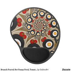 Brunch Fractal Art Funny Food, Tomatoes, Eggs Gel Mouse Pad
