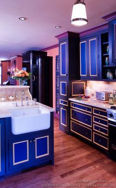 kitchen idea of the day blue kitchen cabinets by crown point cabinetry - Blue Kitchen Designs