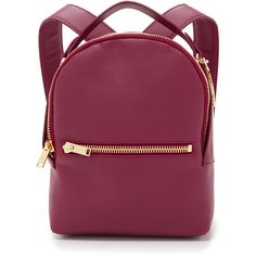 Sophie Hulme Mini Rucksack ($850) ❤ liked on Polyvore featuring bags, backpacks, backpack, bolsas, accessories, berry, leather knapsack, real leather backpack, day pack backpack and leather zipper backpack