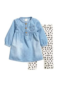 Denim dress and jersey tights - Denim blue - Kids Little Girl Outfits, Toddler Girl Outfits, Boy Outfits, Baby Girl Fashion, Fashion Kids, Womens Fashion, Moda Kids, My Baby Girl, Baby Dress