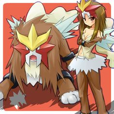 Entei pokemon as human by Tenjou Ryuka, Pokemon Team, Pokemon Girls, Pokemon People, Pokemon Fusion, Pokemon Stuff, Cosplay Pokemon, Moe Anime, Kawaii Anime, Digimon