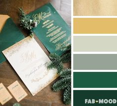 Emerald green and gold winter wedding color palette | fab mood