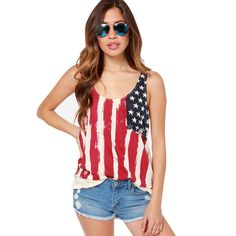 American flag back chiffon patchwork print knitted T-shirt pleated sleeveless women vest 1411a-l034-p30