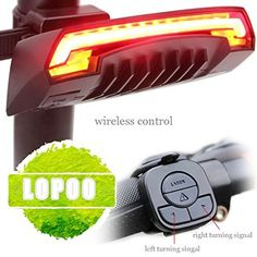 Bike Headlights - LOPOO Tail Light for Smart Bike Turning Signal X5 Wireless Remote Control High Intensity LED Laser Light Ultra Bright Bike Light 85 Lumens USB Rechargeable Rear Light *** Click image for more details.