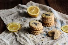 Lemon Lavender Shortbread // butter, powdered sugar, lemon zest, lavender buds, vanilla, salt, flour, sugar