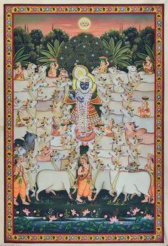 Radha Krishna - V – Artisera Peacock Painting, Cow Painting, Music Painting, Online Painting, Silk Painting, Pichwai Paintings, Indian Paintings, Doodle Art Drawing, Art Drawings