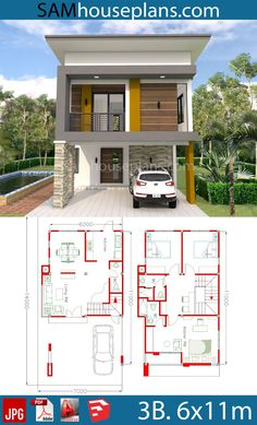 Townhouse Floor Plan Discover House Plans with 3 Bedrooms - House Plans with 3 Bedrooms - Sam House Plans Small Modern House Plans, Narrow House Plans, My House Plans, House Layout Plans, Duplex House Plans, House Layouts, 2 Storey House Design, Duplex House Design, Simple House Design