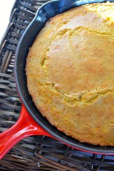 A Southern Soul: Cast Iron Skillet Cheddar Cheese & Green Chile Cornbread — I made a piping, hot cast iron skillet of cheese & green chili cornbread. It's great food for a busy family! Serve with additional butter!