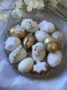 Beautiful handmade faux eggs made for Sofreh Aghd or Persian wedding. Please note: With this purchase you will receive 8 white and gold faux eggs decorated with diamond, lace, rhinestone, and pearl. Easter Egg Crafts, Easter Eggs, Persian Wedding, Easter Egg Designs, Egg Art, Easter Celebration, Beaded Ornaments, Egg Decorating, Easter Table