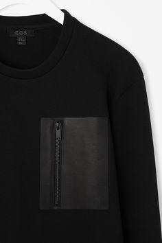 Leather pocket sweatshirt