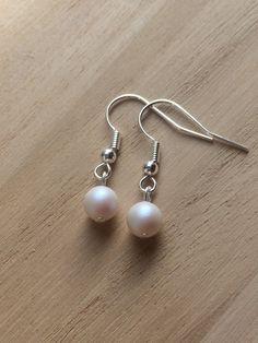 Swarovski Pearlescent White Pearls, Small Pearl Earrings, Modern Clip On, Minimal Earrings, Minimal Jewellery, Wedding Earrings, New Shop UK by MadeByMissM on Etsy