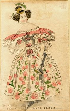 Fashion plate of ball dress, c.1833.